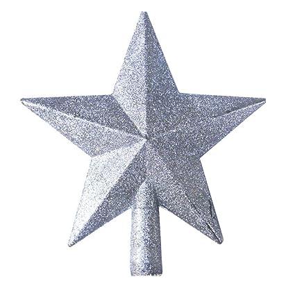 Stella Di Natale A 5 Punte.Tinksky Decorazioni Natalizie Albero Di Natale Top Stella A Cinque Punte Stella Ciondolo Ornamento Regalo Di Natale Argento