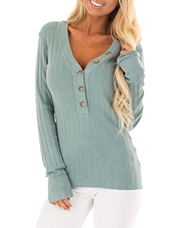 9427a6659a49 BMJL Women s Deep V Neck Sweater Button Up Blouse Pullover Slim Long Sleeve  Top(Medium