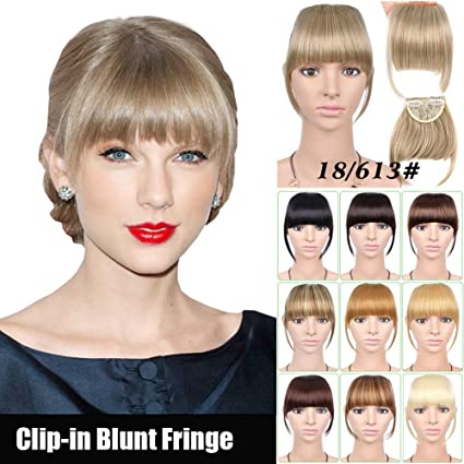Amazon Com One Piece Clip In Fake Blunt Fringe High Temperature Synthetic Fiber Forehead Neat Wispy Bangs Hairpiece Extensions With Temples Sports Outdoors