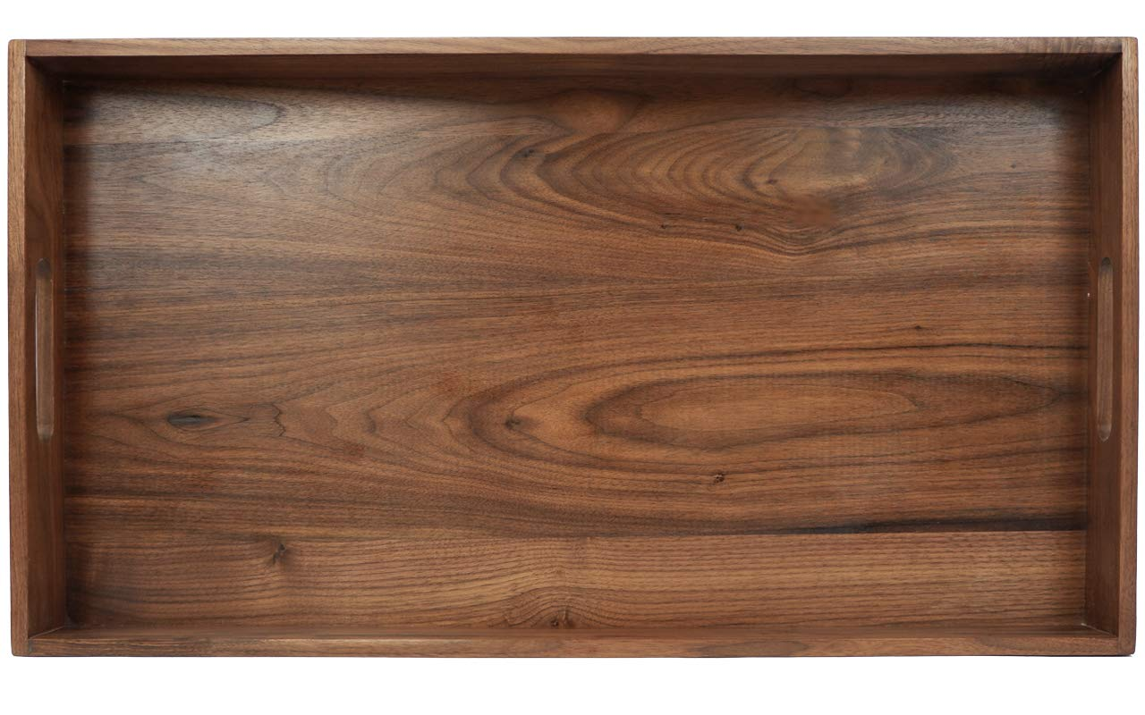 MAGIGO Extra Large Walnut Wooden Ottoman Serving Tray 24''x13'' FSC Natural Handmade Rectangular with Handle