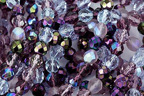 Czech Fire Polish Glass Beads 6mm Round Lilac Purple Mix ()