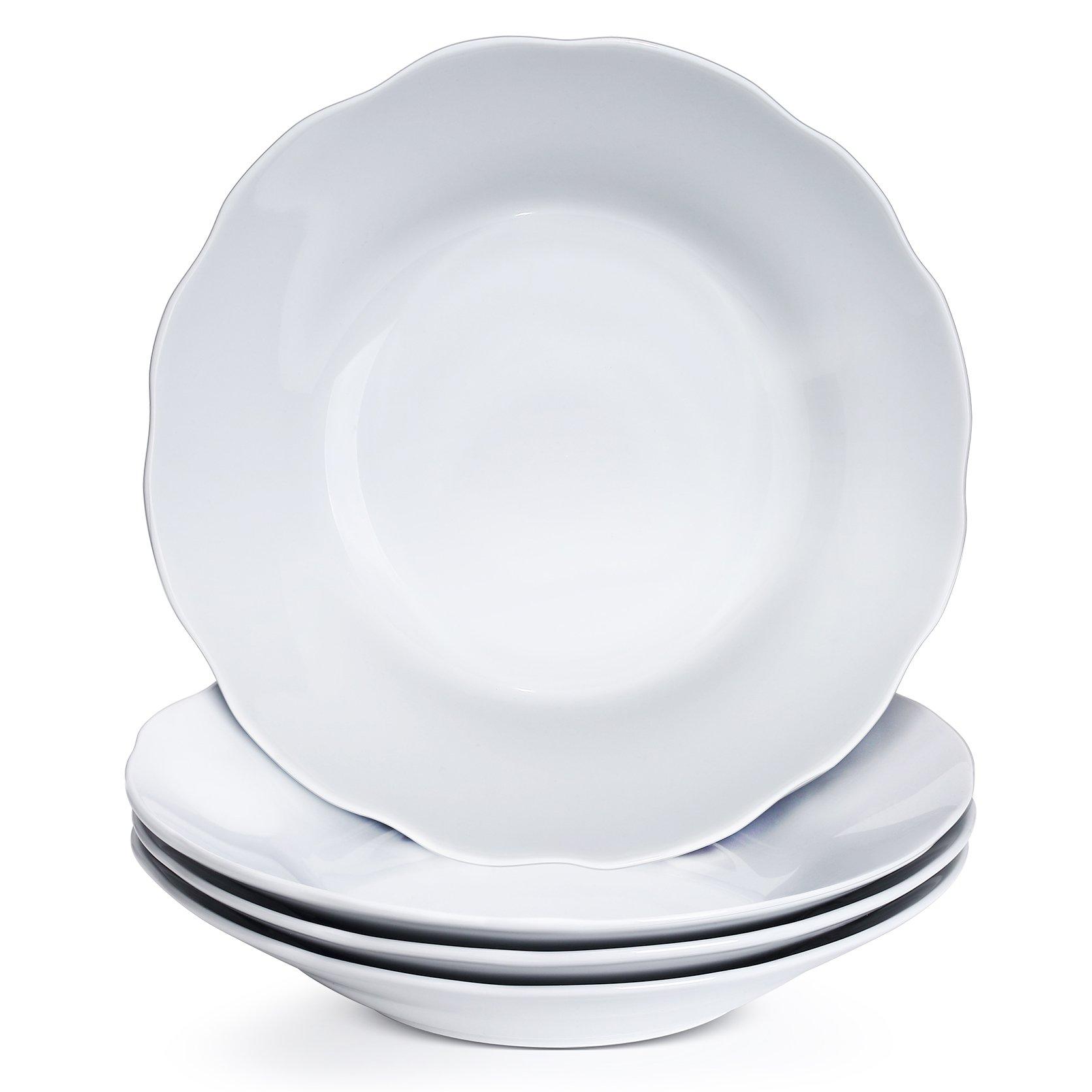 YHY 9 Inch/15oz Porcelain Salad/Pasta Bowls, 4 Piece Soup Bowl Set, White & Shallow, Scallop Design