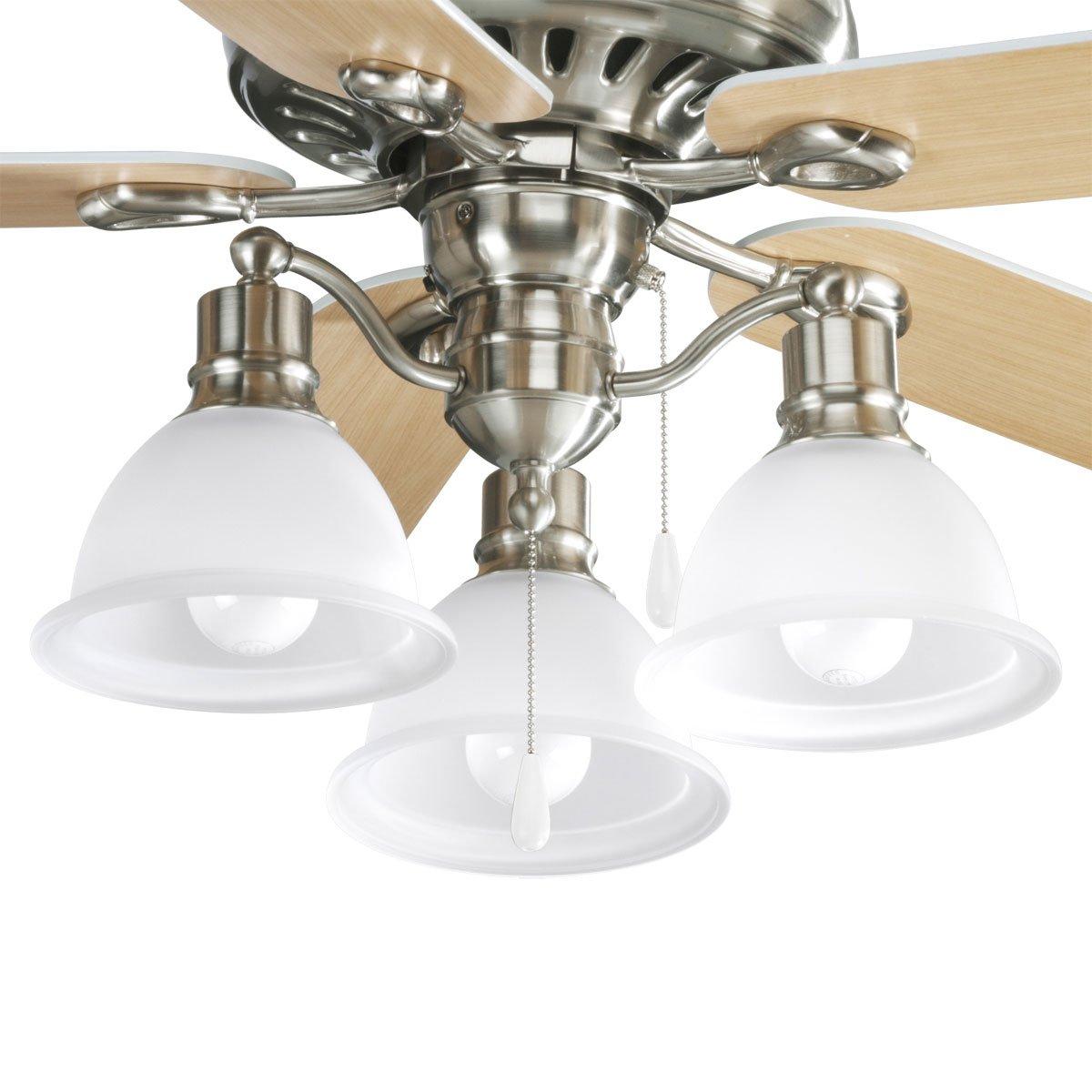 Progress Lighting P2623-09 3-Light Fan Light Kit, Brushed Nickel by Progress Lighting