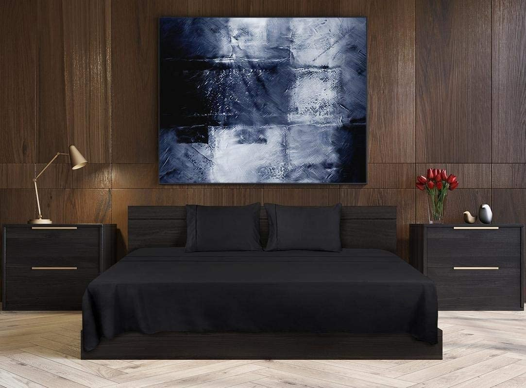 CLASSIC HOME COLLECTION Limited Time Offer on 550 Thread Count Queen Size Sheets Luxury Egyptian Cotton 4-PCs Sheet Set for Queen Size (60 x 80) Deep Pocket Fits 13-15 inches (Solid, Black)