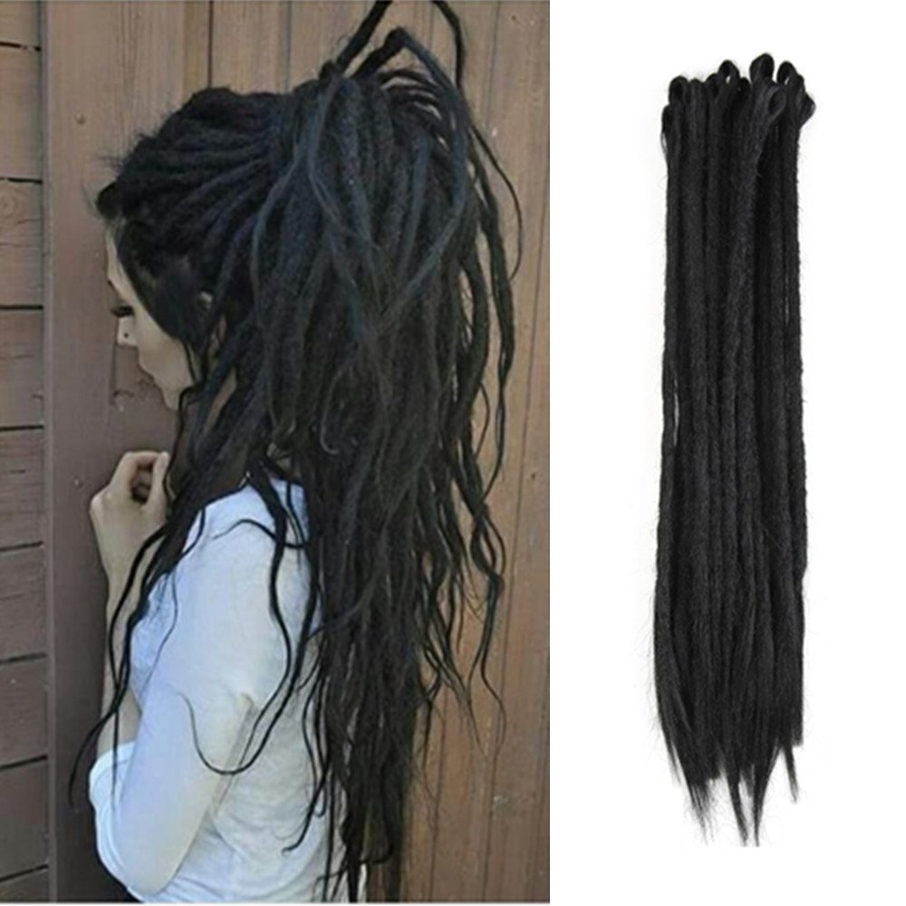 AOSOME 20pcs/pack Black Dreadlock Synthetic Braids Hair Extension, 18inch