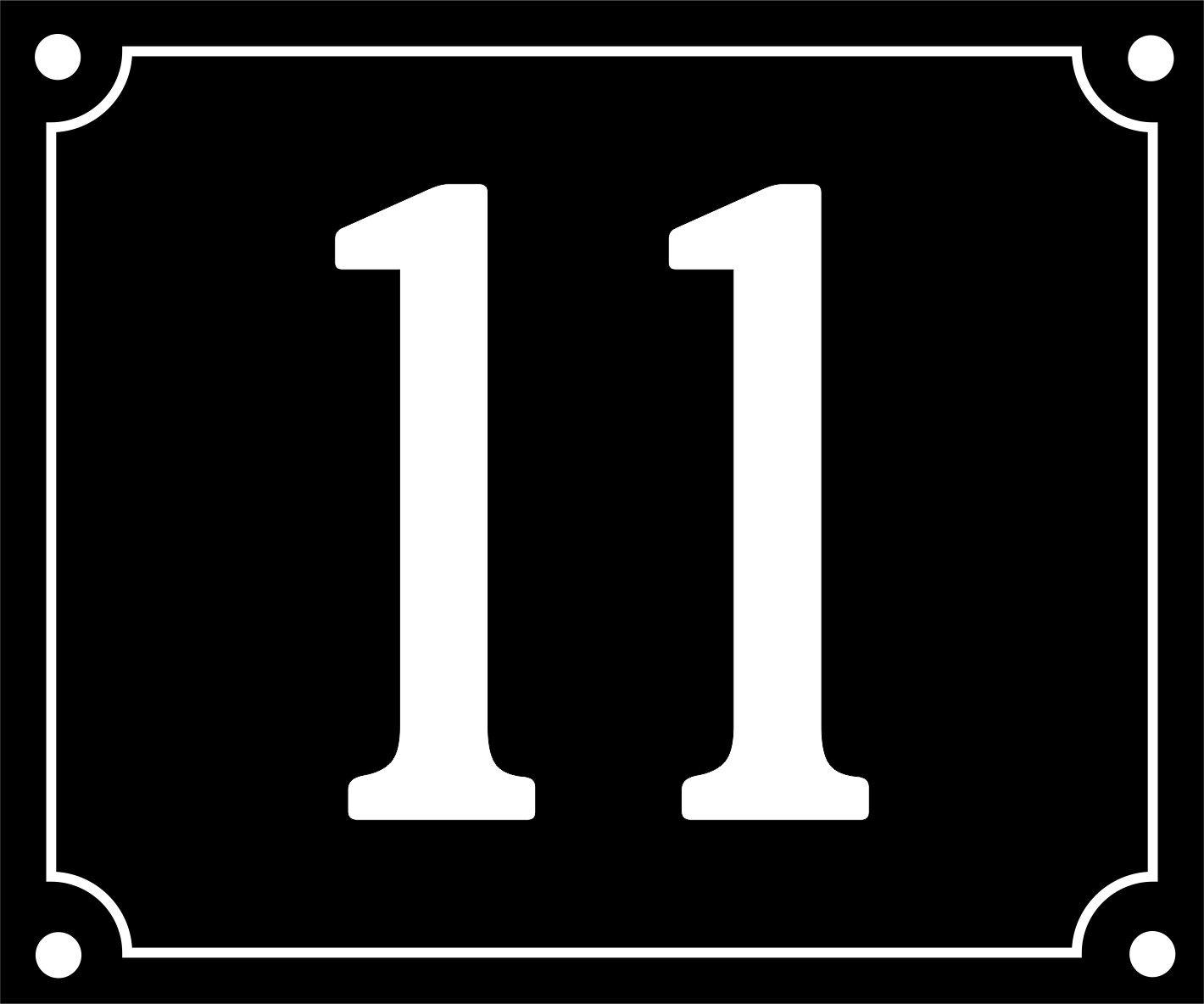 numé ro de rue personnalisable - 11 - 10 x 12 cm - vendue avec visseries et bouchons - colris noir Alsagrav