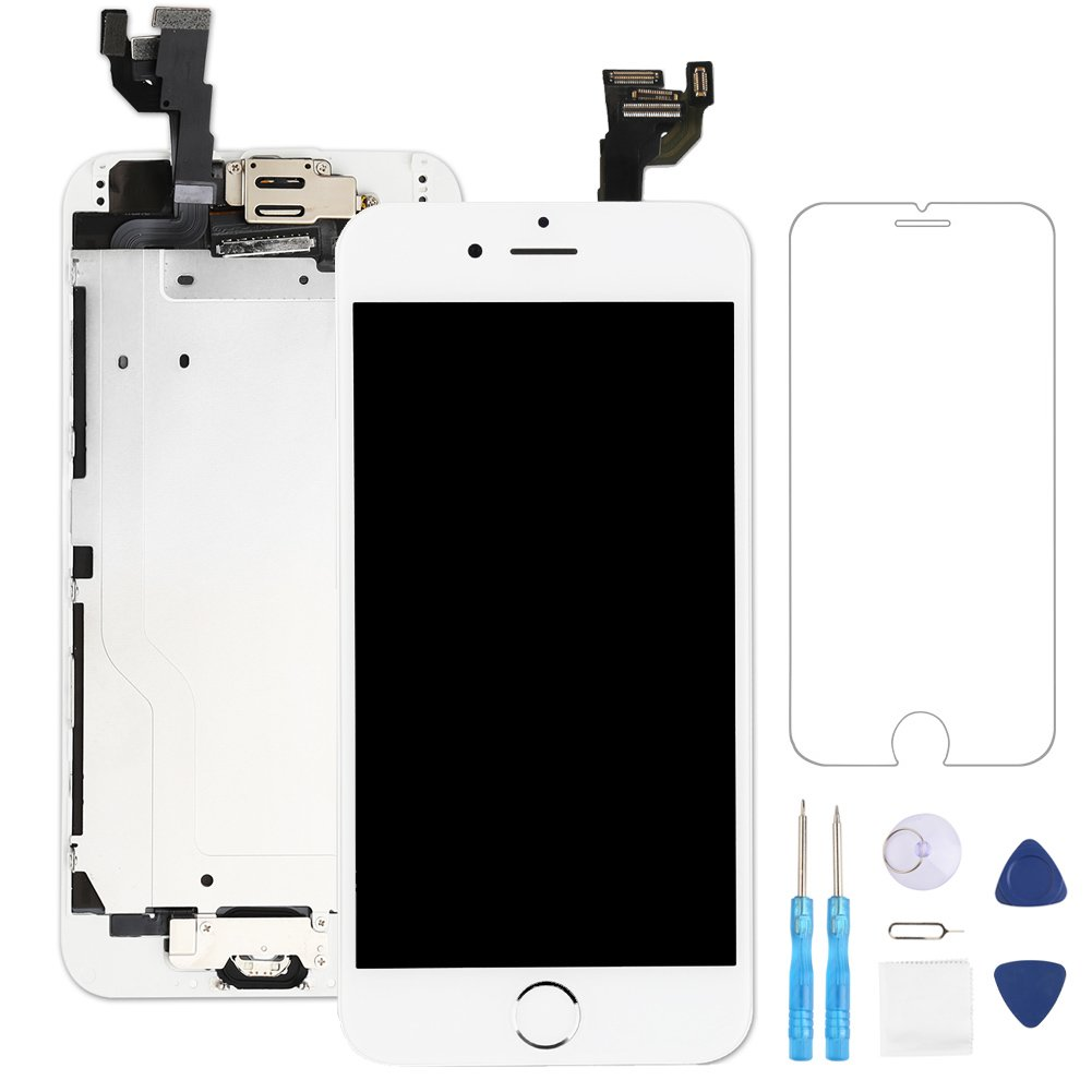 Screen Replacement for iphone 6 White 4.7'' LCD Display Touch Digitizer Frame Assembly Full Repair Kit, with Home Button, Proximity Sensor, Ear Speaker, Front Camera, Screen Protector, Repair Tools