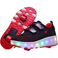 Axcer Led Roller Skate Shoes with Double Wheels Automatic Retractable Technical Skateboarding Shoe Inline Skates Cross Trainers USB Rechargeable Multisports Outdoor Gymnastic Sneakers Boys Girls
