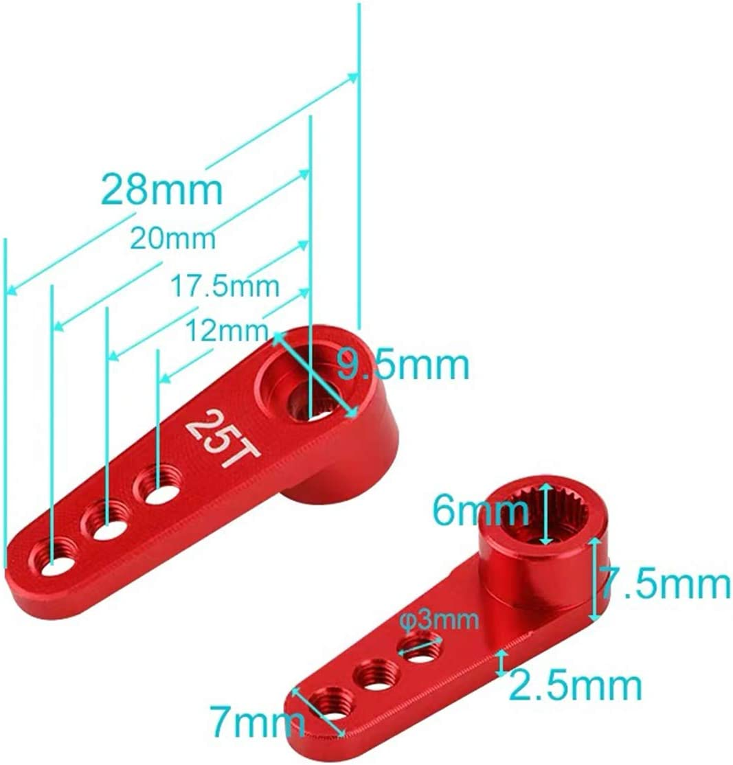 2PCS ShareGoo Metal 25T Servo Horn M3 Threads Steering Arm Server Rocker Adapter for Futaba Savox Power HD HSP Servos Motor 1//8 1//10 RC Car Truck,Red