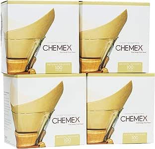 CHEMEX Filtro adherido – cuadrado natural – 100 unidades – Paquete de 4 – Embalaje exclusivo
