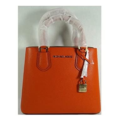 5afd549d16c3 Michael Kors Adele Persimmon Pebbled Leather Medium Messenger Bag ...