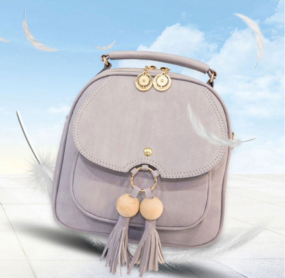 Aobiny Backpack Leisure Soft Leather Travel Backpack Shoulder Bag For Students (Gray)