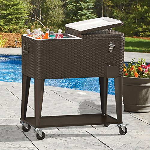 Clevr 80 Qt Outdoor Patio Rolling Ice Chest Cooler Cart, Dark Brown Wicker Faux Rattan   Portable Party Drink Beverage Bar Cold   Wheels with Shelf & Bottle Opener by Clevr (Image #2)