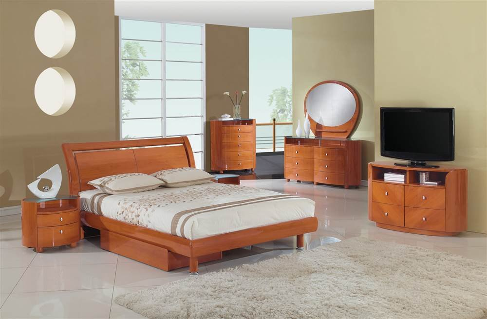Amazon com  Global Furniture Emily Collection MDF Wood Veneer Queen Bed Cherry Kitchen Dining