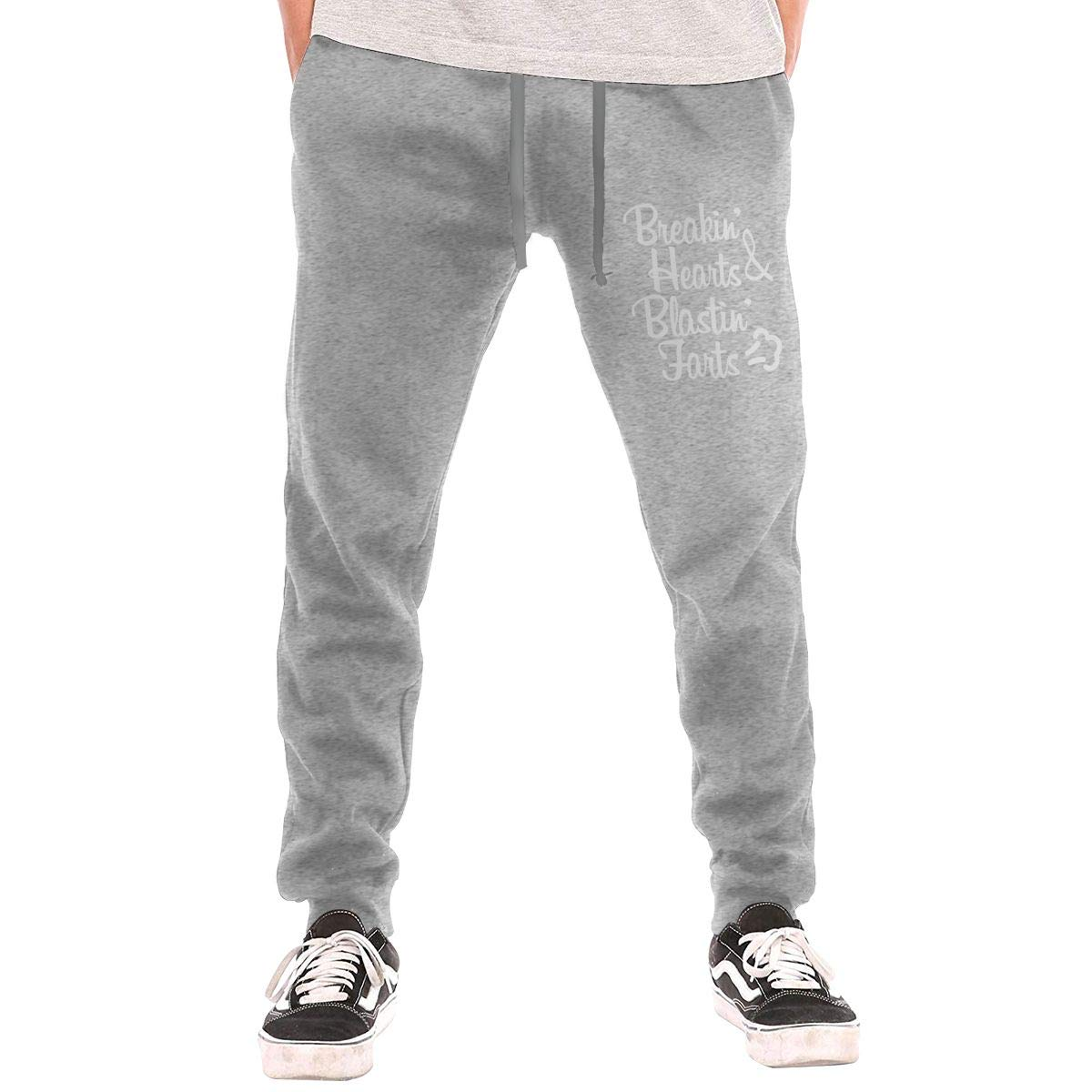 AucCen Mens Breaking Hearts and Blasting Farts Active Basic Jogger Cotton Pants
