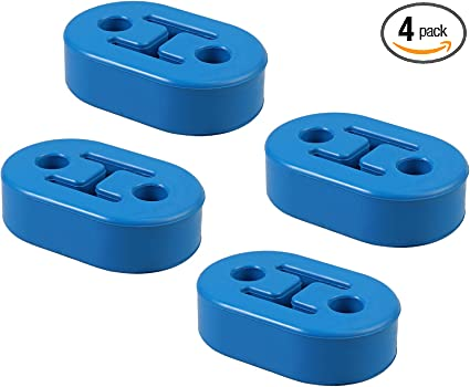 2Pcs x Car Rubber Exhaust Tail Pipe Mount Brackets Hanger Insulator 4 Holes Blue