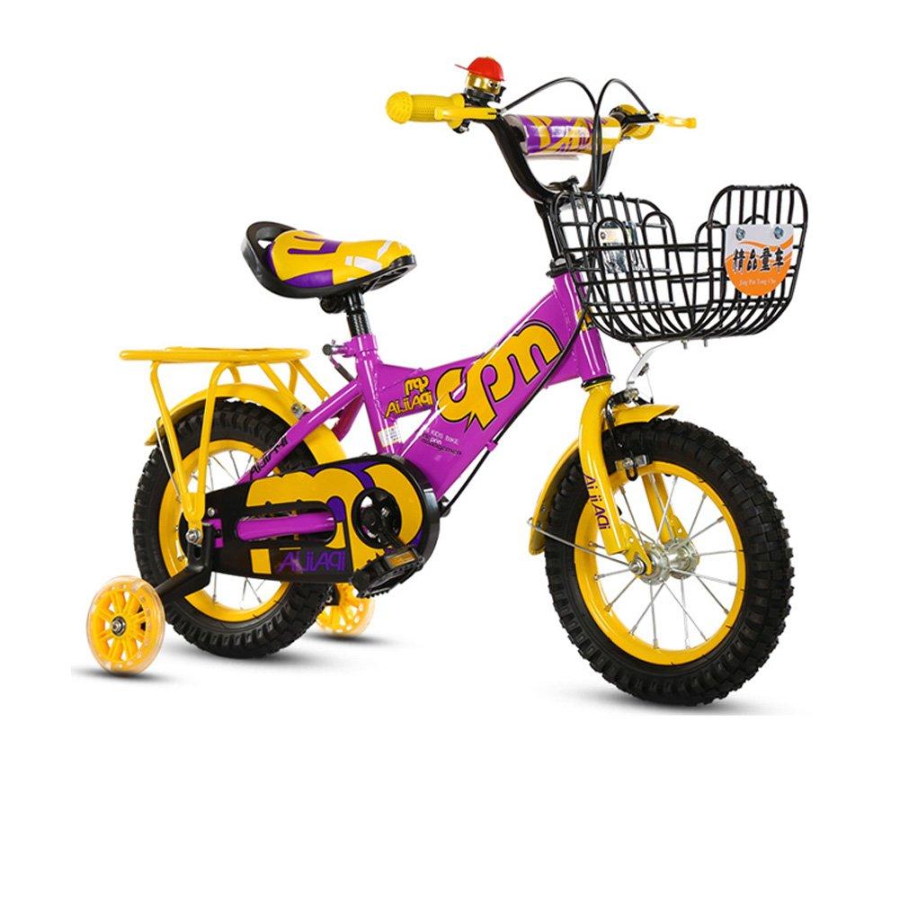 超歓迎 CHS@ ユニセックス子供用自転車2歳から11歳のベビーキャリッジ12/14 サイズ/16/18フラッシュトレーニングホイールと後部座席付きインインチバイク さいず B07Q1N6SYN 子ども用自転車 (色 : Purple, サイズ さいず : 16