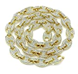 Bling Bling NY Mens Iced Out Mariner Link Choker Necklace/Bracelet Gold Finish Lab Created Diamonds 12MM (8.5-30 inches)