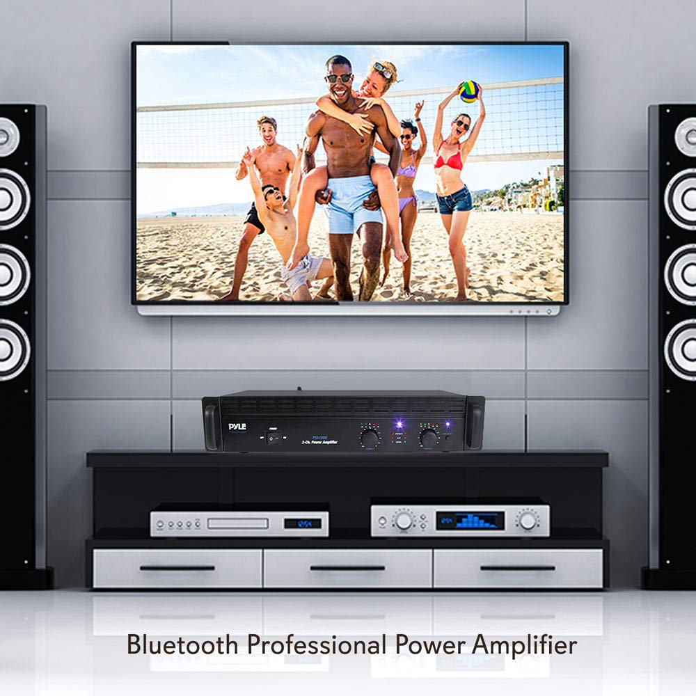 Professional Audio Bluetooth Power Amplifier 2 Channel Download Image Circuit Diagram Pc Android Iphone And Rack Mount Bridgeable Led Indicators Shockproof Binding Posts Cooling Fans 1000 Watt