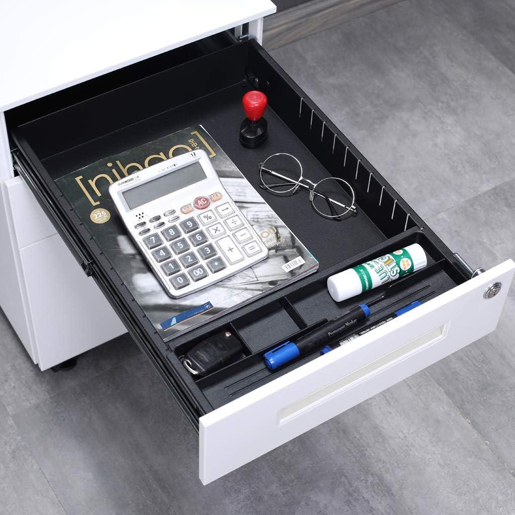 Mobilen inkl 3 Sch/übe B/ürocontainer mit Anti-umkippen-mechanismus f/ür A4 B/üro-Rollcontainer,Rollcontainer JLB021-O Aktenschr/änke Abschlie/ßbar ; 39cm B x 50cm L x 60cm H