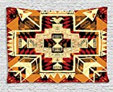 Arrow Decor Tapestry by Ambesonne, Native American Inspired Retro Aztec Pattern Mod Graphic Design Boho Chic Art Print, Wall Hanging for Bedroom Living Room Dorm, 80 W X 60 L, Cream and Merigold