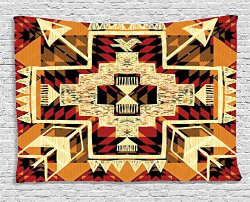 - Ambesonne Arrow Tapestry, Inspired Pattern Graphic Design Abstract Art with Earth Tones, Wide Wall Hanging for Bedroom Living Room Dorm, 60