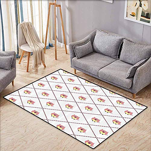 Floor Rug Pattern Pig Decor Collection Baby Pig Cartoon in Colorful Diamond Line Pattern Piglet Graphic Design Effect Light Yellow Pink White Suitable for Outdoor and Indoor use W6'5 xL4'6