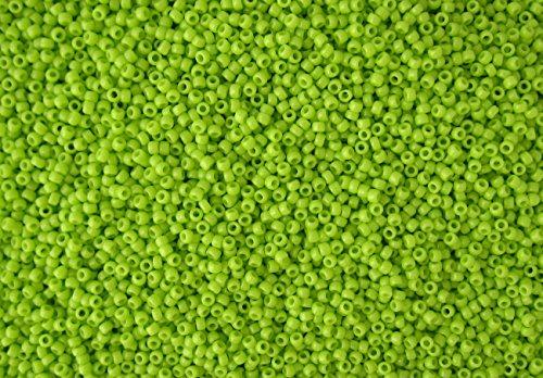 15/0 Toho Japanese Glass Seed Beads - Lime Green Opaque #44 (14g Tube)