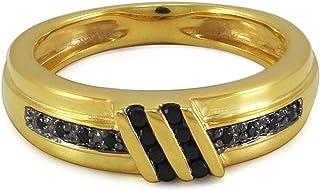 Lilu gioielli wedding Half Eternity da uomo anello a fascia con nero zirconia cubica taglio brillante rotondo