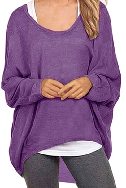 ae23f3c7649f0 RAGEMALL Women s Sweater Off-Shoulder Tops Batwing Sleeve Pullover Shirts  Purple