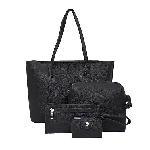 Amazon.com  ❤ Clearance Women Four Set Handbag Shoulder Bags Four Pieces  Tote Bag Crossbody Wallet Purse Card Package Duseedik  Clothing 09599e321f5c1