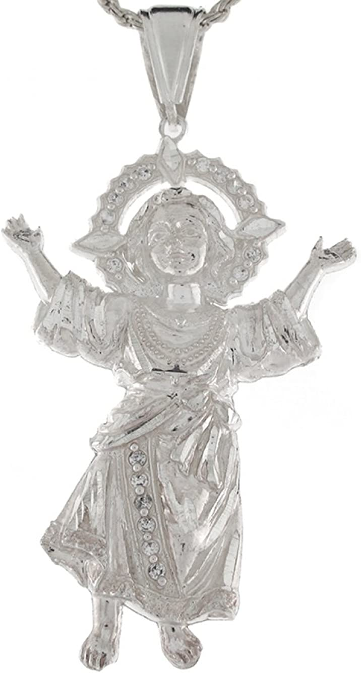 Sterling Silver White CZ Large Baby Jesus 7.91cm Religious Pendant Charm