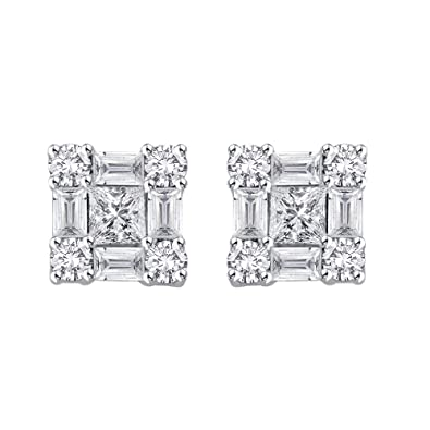 fb2eae680 Amazon.com: KATARINA Multi Diamond Earrings in 14K White Gold (1/2 ...