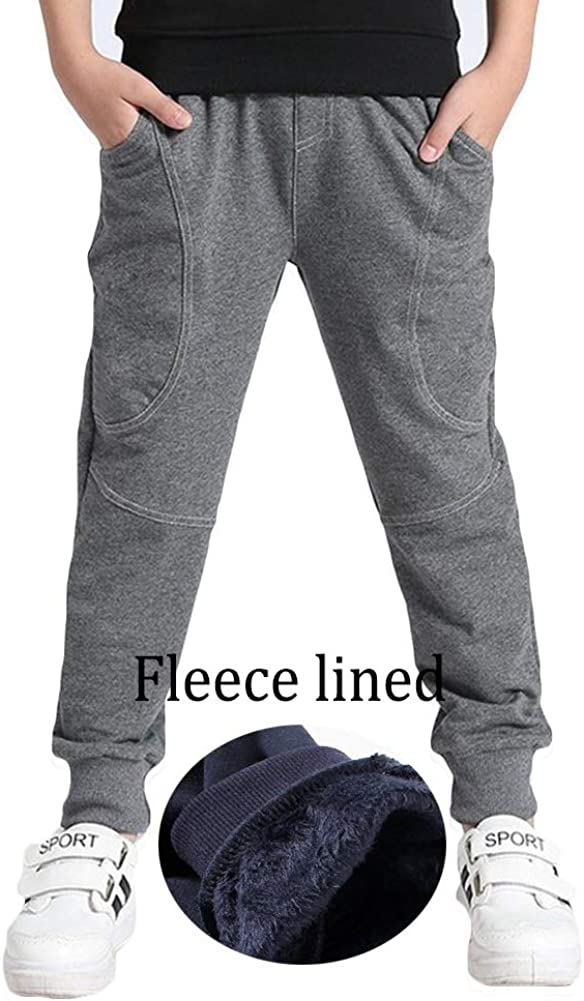 Boys Cotton Sweatpants Adjustable Waist Jogger Pants Trousers in Basic Colors