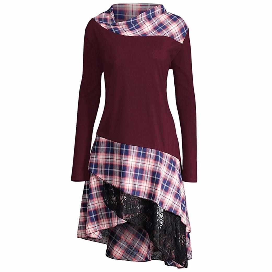 Women Dress Daoroka Ladies High Neck Plaid Pattern Patchwork Fit and Flare Casual Swing Skirt Fashion Pin Up Irregular Hem Long Sleeve Above Knee Spring Autumn Winter T Shirt Dress (XL, Wine Red) by Daoroka Women Dress