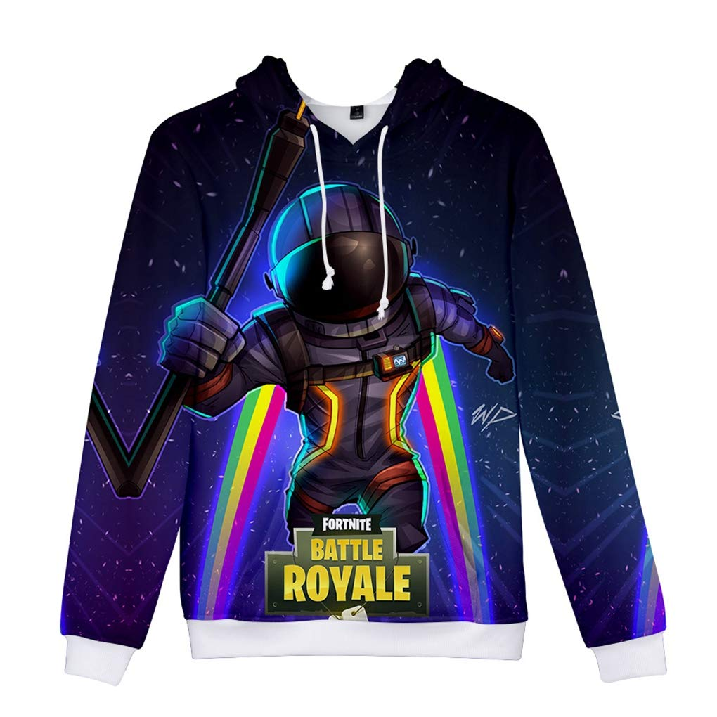 Milanlan Fornite 3D Printing Fasion Unisex Hooded Sweater Halloween Christmas Costume (XX-Small, Navy 1036)