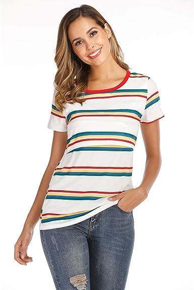 Conquro Camiseta para Mujer Verano Camisetas Cortas Manga Corta Rayas Patche Camisas Casual Blusas 2019 Oferta Premamá Camisón Blusa Lactancia de Noche Camisa Divertido Mujers Tops: Amazon.es: Ropa y accesorios