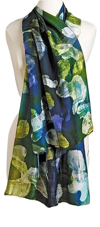 "Smithsonian Thai Islands Silk Blend Scarf Green & Blue 63"""