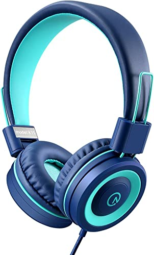 Kids Headphones – noot products K11 Foldable Stereo Tangle-Free 3.5mm Jack Wired Cord On-Ear Headset for Children Teens Boys Girls Smartphones School Kindle Airplane Travel Plane Tablet Navy Teal