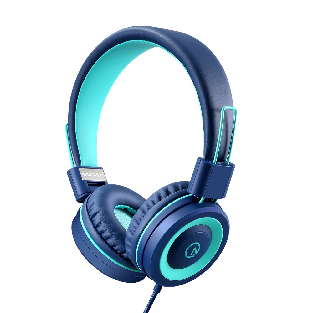 Kids Headphones - noot products K11 Foldable Stereo Tangle-Free 3.5mm Jack Wired Cord On-Ear Headset for Children (Navy/Teal) by noot products