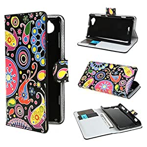 TUTUWEN 282 Wallet Flower PU Leather Stand Case Cover for Sony Xperia L S36h