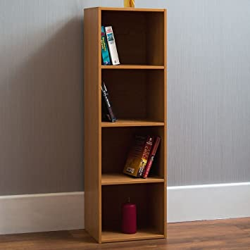 Home Discount Oxford 4 Etagen Cube Bücherregal, Eiche Holz Regal Display  Stauraum Büro Wohnzimmer Möbel