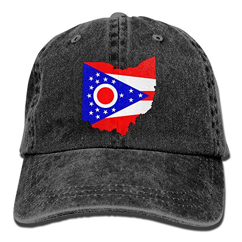 PENN-TNT Unisex Adult Ohio State Map Flag Washed Denim Retro Cowboy Style Baseball Hat Sun Cap Trucker Hat Adjustable Dad Hats