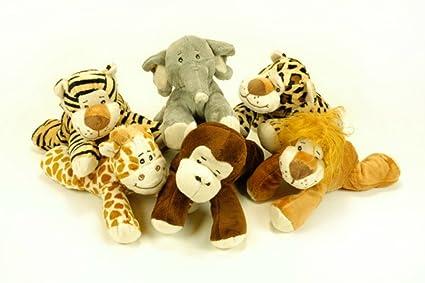 CAPRILO Lote de 6 Peluches Infantiles Decorativos Animales Tumbados Surtidos Multicolores. Juguetes Infantiles. Muñecos