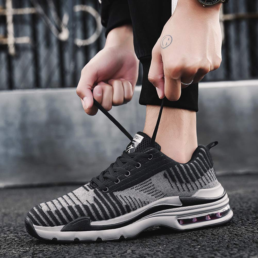 KEREE Mens Breathable Air Cushion Cashmere Flyknit Sneakers Lightweight Athletic Tennis Walking Jogging Running Shoes