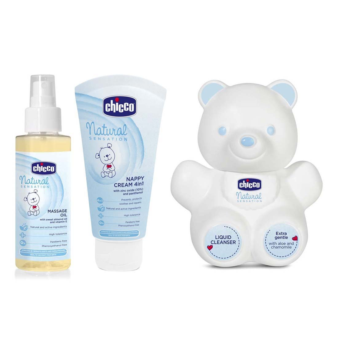 Buy Chicco Natural Sensation Massage Oil Blue 100ml Baby Moments Nappy Cream 4 In 1 100 Ml Nat Sens Bear Liquid Cleanser White
