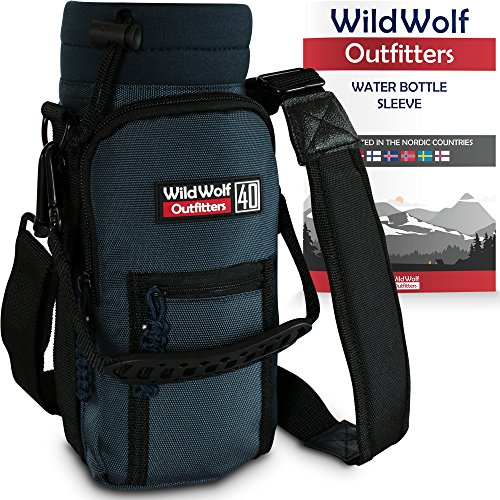 Water Bottle Holder for 40oz Bottles by Wild Wolf Outfitters - Blue - Carry, Protect and Insulate Your Best Flask with This Military Grade Carrier w/ 2 Pockets & an Adjustable Padded Shoulder Strap.