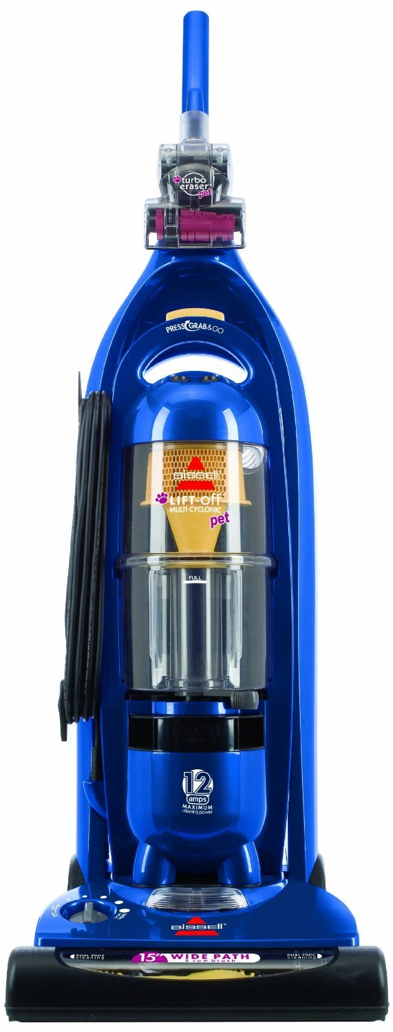 """Bissell Lift-Off Multi-Cyclonic Pet Upright Vacuum with Detachable Canister For Carpet & Bare Floors, Wide 15"""" Cleaning Path, Pet Hair Turbo-Brush, Crevice Tool, and Upholstery/Dusting Brush Included"""