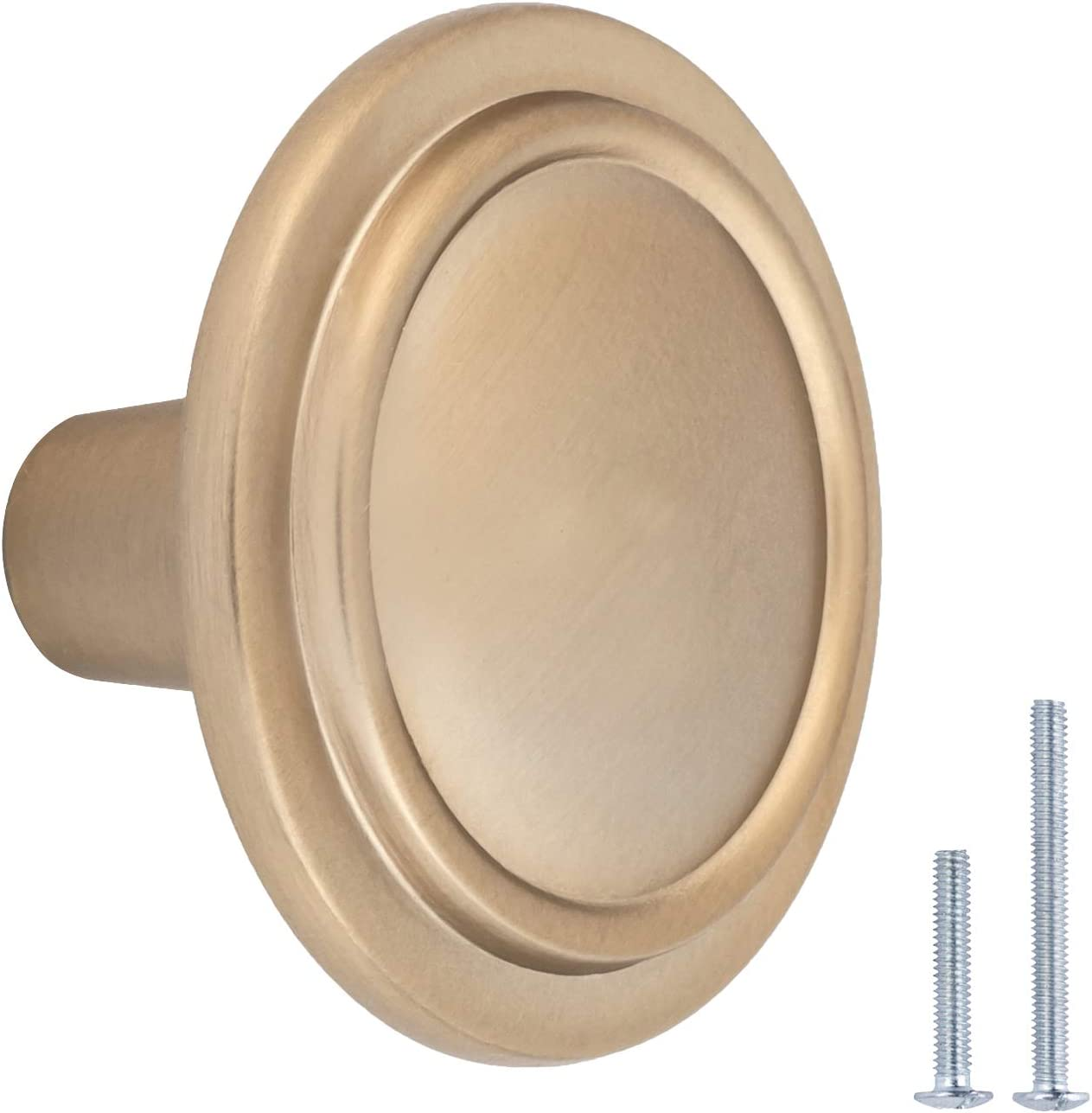 AmazonBasics Straight Top Ring Cabinet Knob, 1.25-inch Diameter, Golden Champagne, 25-pack
