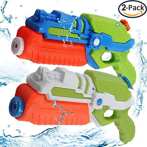 POKONBOY 2018 Upgraded 2-Pack Water Guns Water Blaster 500ml Large Capacity Squirt Gun, Shoots Up to 35 Ft- Game Fun Far Range Party Favor Toy for Kids Summer Beach Toy (Big Game Guns)